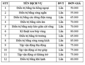 Bảng giá dịch vụ điều trị phục hồi chức năng theo yêu cầu