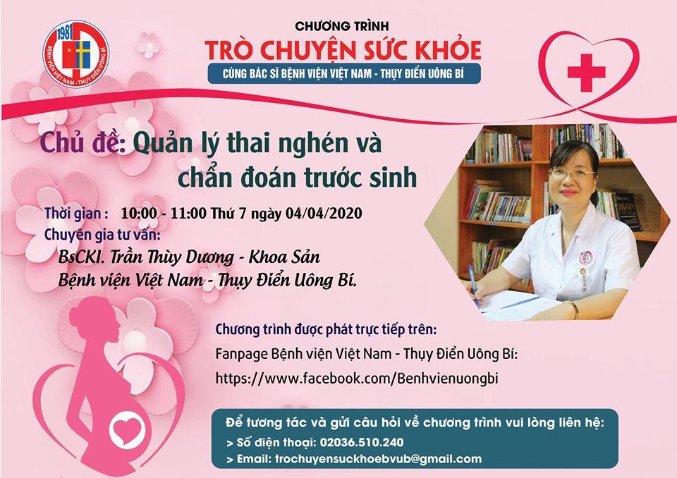 Chương trình tư vấn sức khoẻ về Quản lý thai nghén và Chẩn đoán trước sinh ngày 04/04/2020